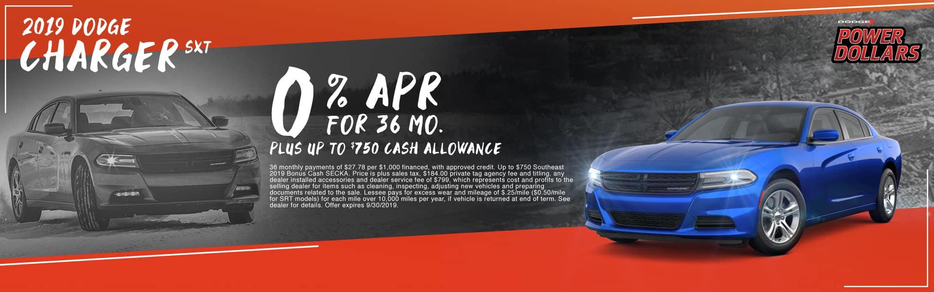 2019 Dodge Charger SXT | 0% APR For 36 Months PLUS Up To $750 Cash Allowance | Dodge Power Dollars