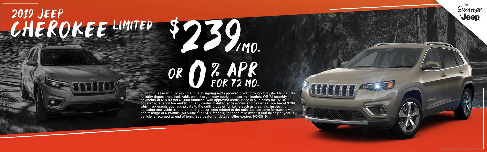 2019 Jeep Cherokee Limited | $239 Per Month OR 0% APR For 72 Months