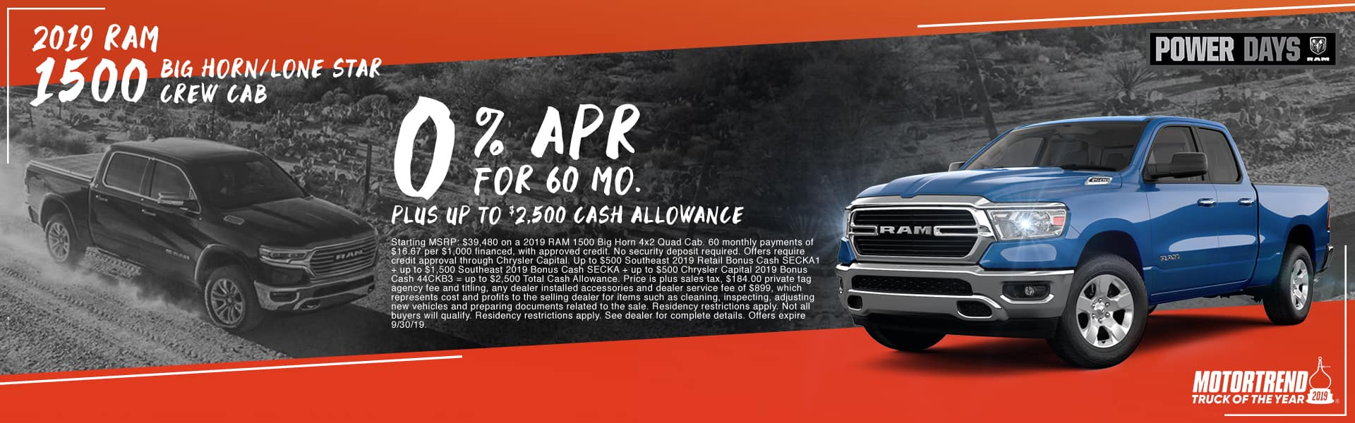2019 RAM 1500 Big Horn/Lone Star Crew Cab | 0% APR For 60 Months PLUS Up TO $2,500 Cash Allowance | RAM Power Days | Motortrend Truck Of The Year 2019