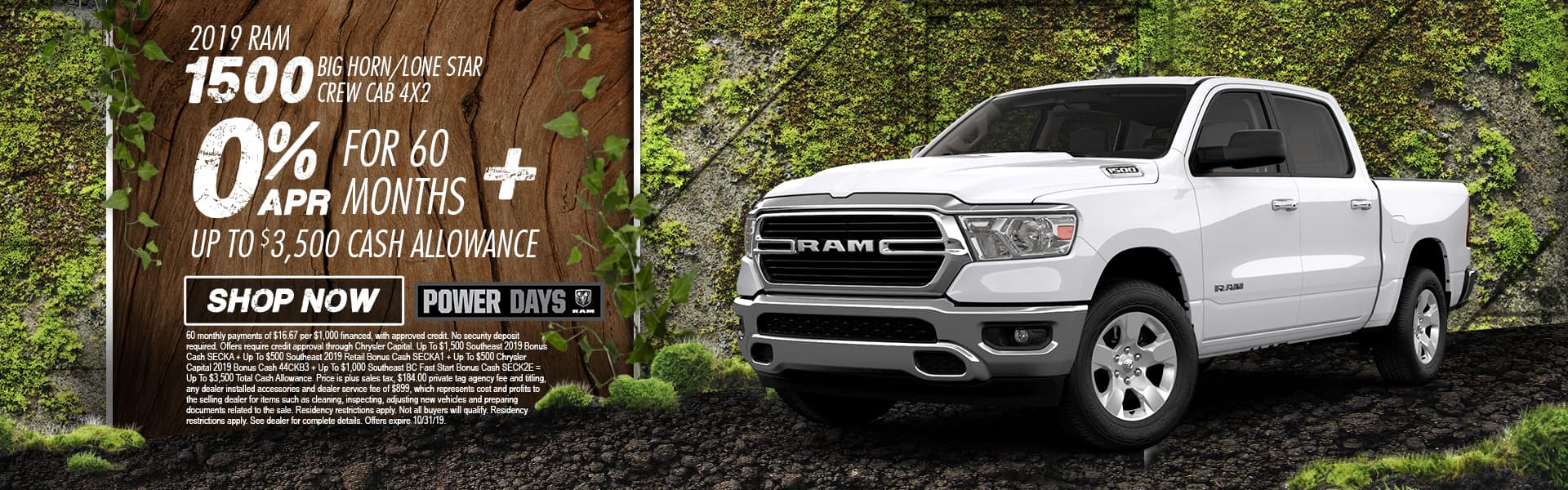 2019 RAM 1500 Big Horn/Lone Star Crew Cab 4x2 | 0% APR For 60 Months + Up To $3,500 Cash Allowance