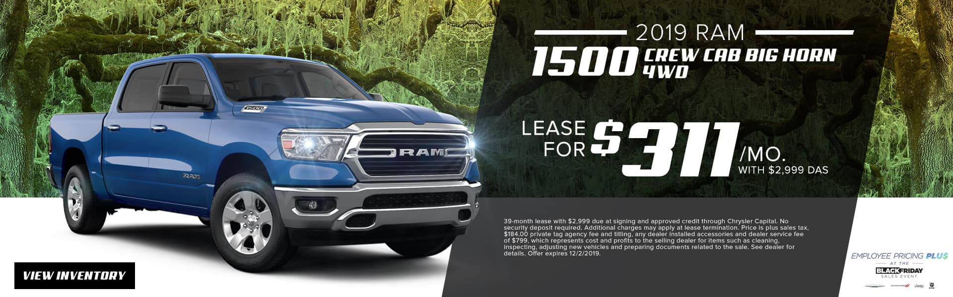 2019 RAM 1500 Crew Cab Big Horn 4WD | Lease For $311 Per Month With $2,999 Due At Signing