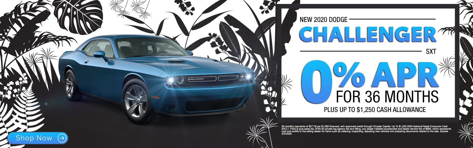 New 2020 Dodge Challenger SXT | 0% APR For 36 Months Plus Up To $1,250 Cash Allowance