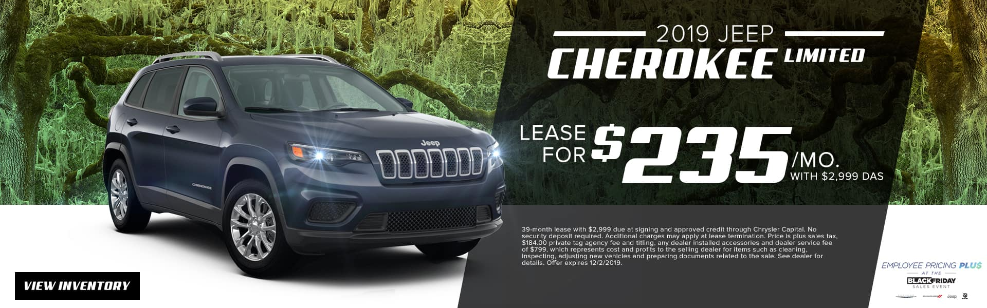 2019 Jeep Cherokee Limited | Lease For $235 Per Month With $2,999 Due At Signing