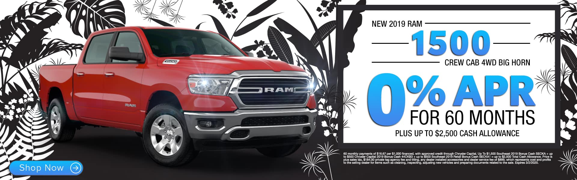 New 2019 RAM 1500 Crew Cab 4WD Big Horn | 0% APR For 60 Months Plus Up To $2,500 Cash Allowance