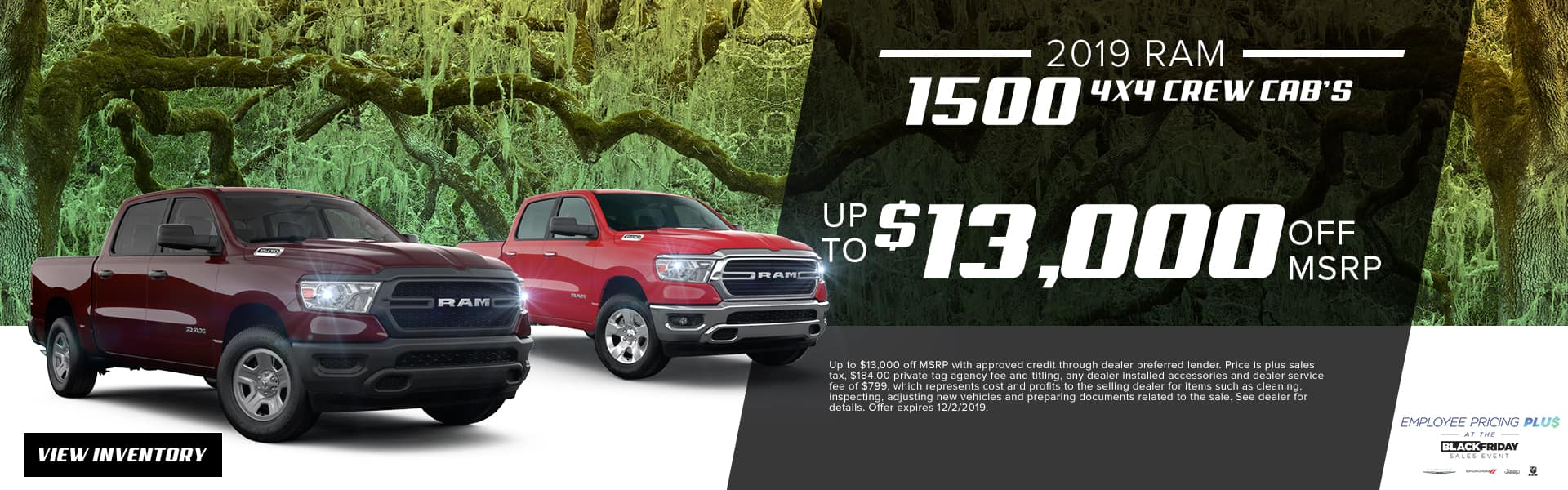 2019 RAM 1500 4x4 Crew Cabs | Up To $13,000 Off MSRP