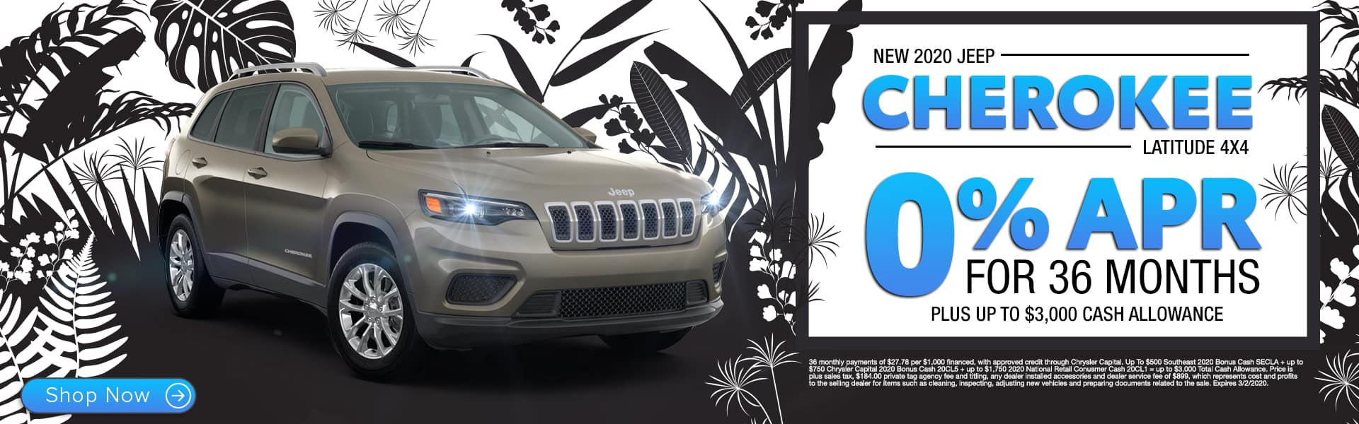 New 2020 Jeep Cherokee Latitude 4x4 | 0% APR For 36 Months Plus Up To $3,000 Cash Allowance