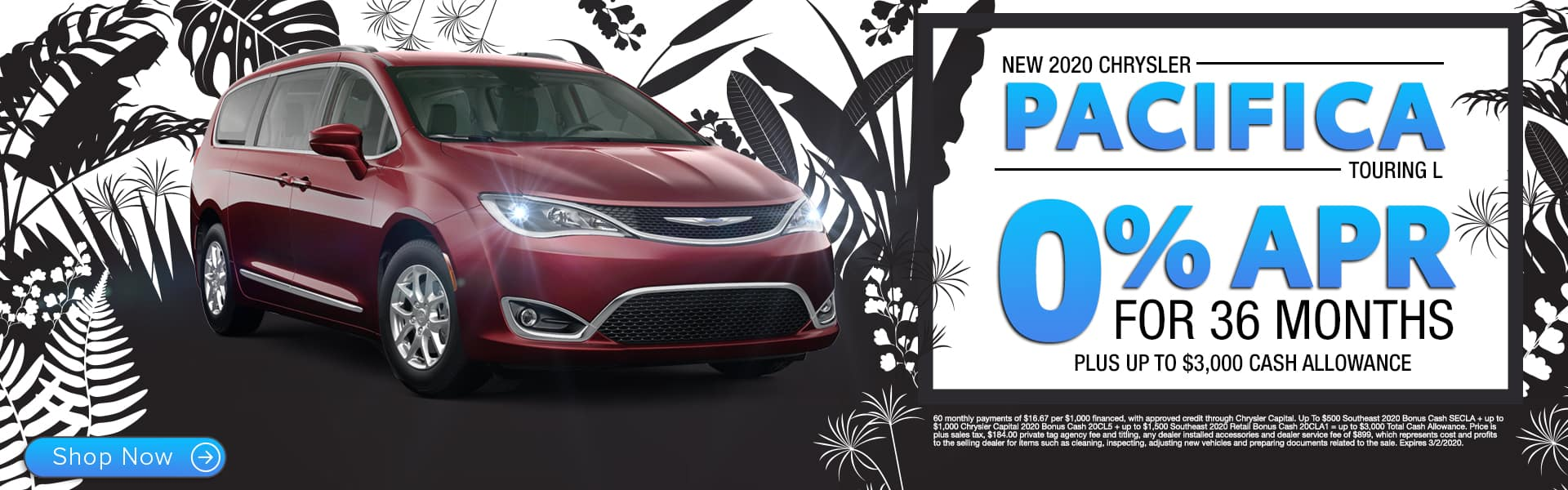 New 2020 Chrysler Pacifica Touring L | 0% APR For 36 Months Plus Up To $3,000 Cash Allowance