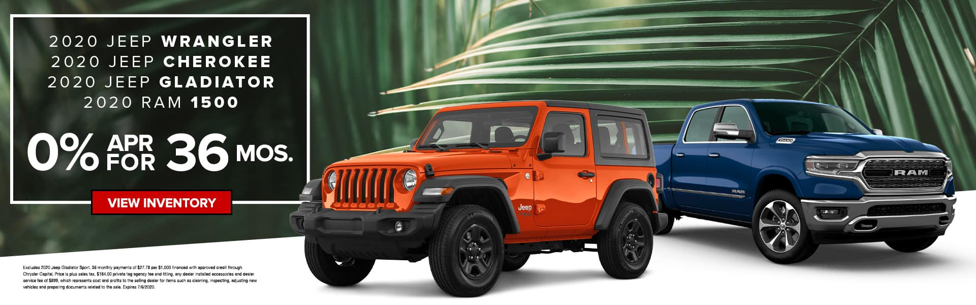 2020 Jeep Wrangler, 2020 Jeep Cherokee, 2020 Jeep Gladiator, 2020 RAM 1500 | 0% APR For 36 Months