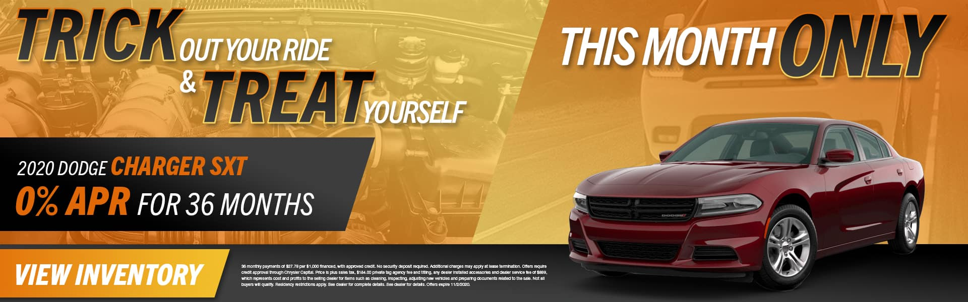 Trick Out Your Ride & Treat Yourself This Month Only | 2020 Dodge Charger SXT | 0% APR For 36 Months