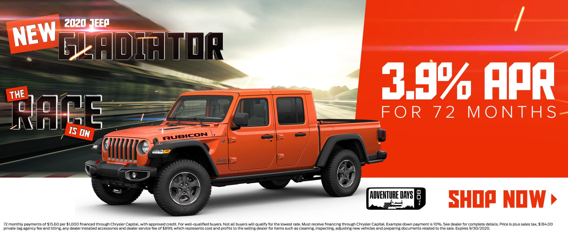 New 2020 Jeep Gladiator | 3.9% For 72 Months | The Race Is On | 80th Adventure Days