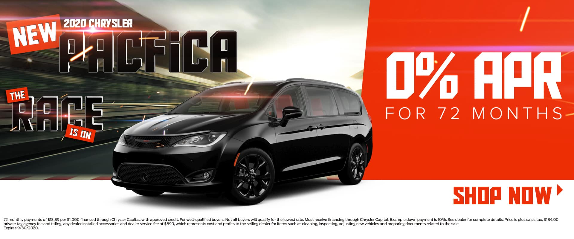 New 2020 Chrysler Pacifica | 0% For 72 Months | The Race Is On