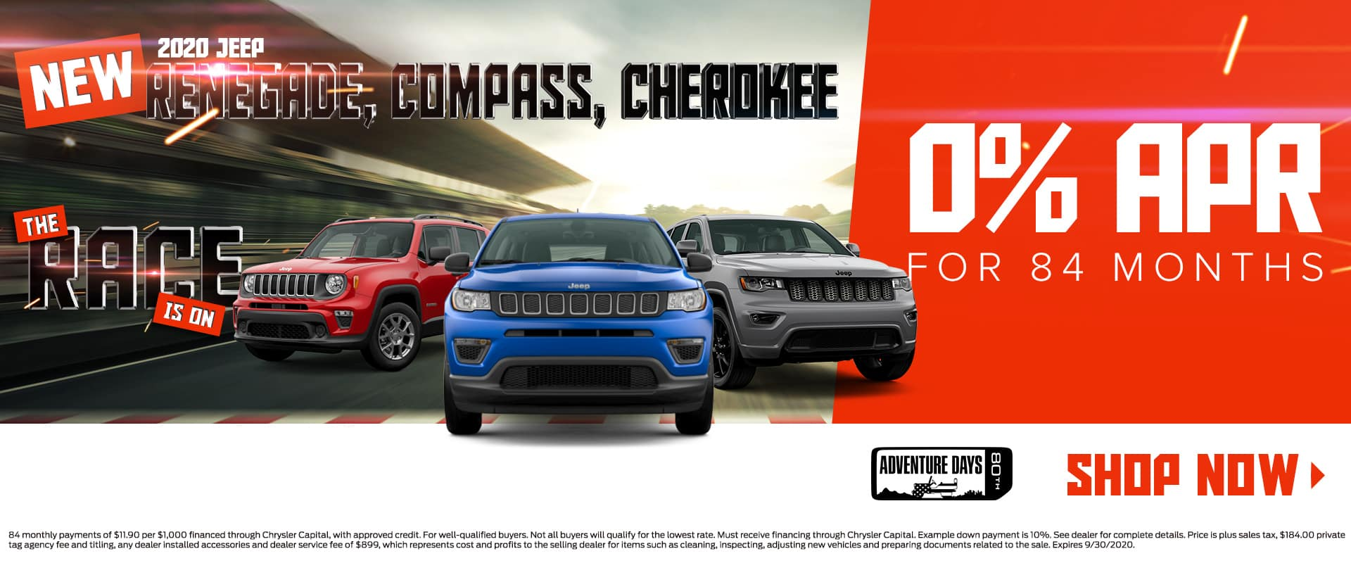 New 2020 Jeep Renegade, Compass, Cherokee | 0% For 84 Months | The Race Is On | 80th Adventure Days