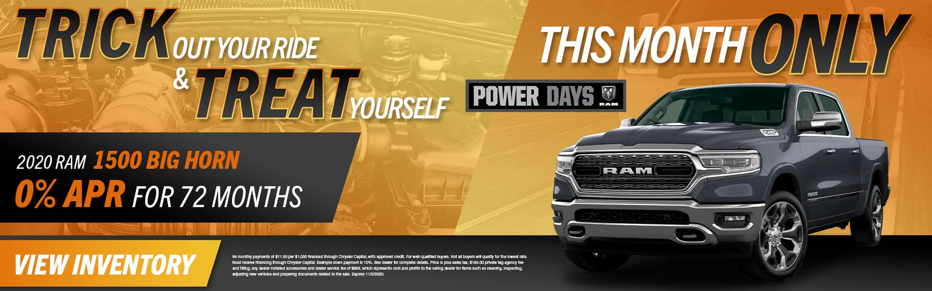 Trick Out Your Ride & Treat Yourself This Month Only | 2020 RAM 1500 Big Horn | 0% APR For 72 Months