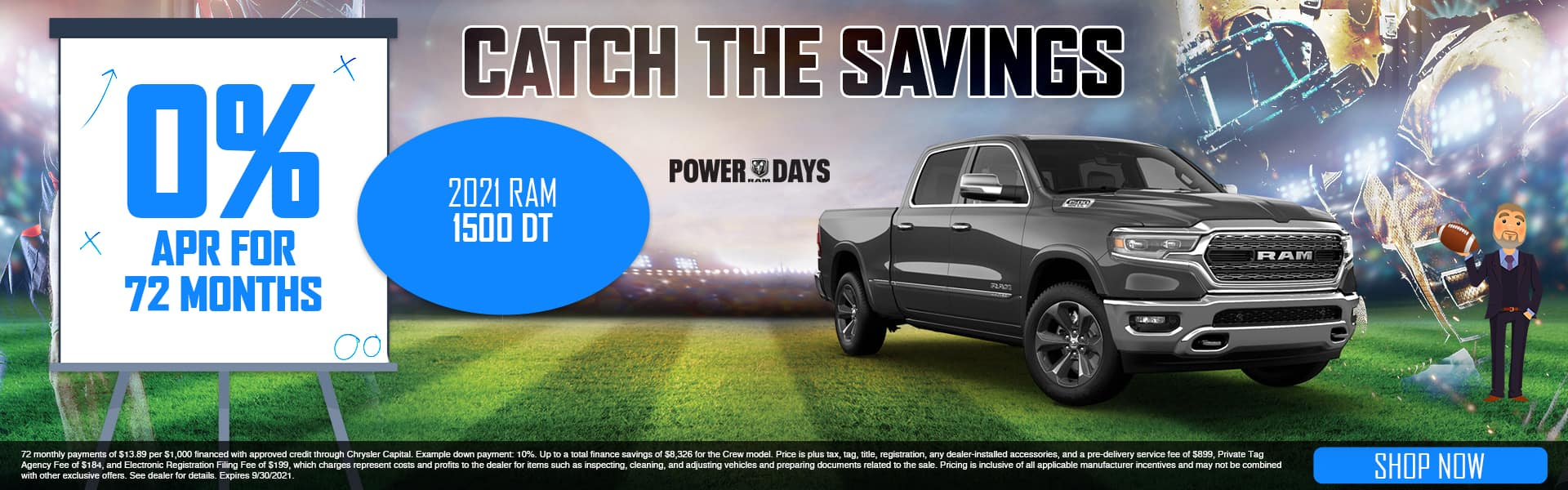 Catch The Savings | 2021 Ram 1500 DT | 0% APR For 72 Months