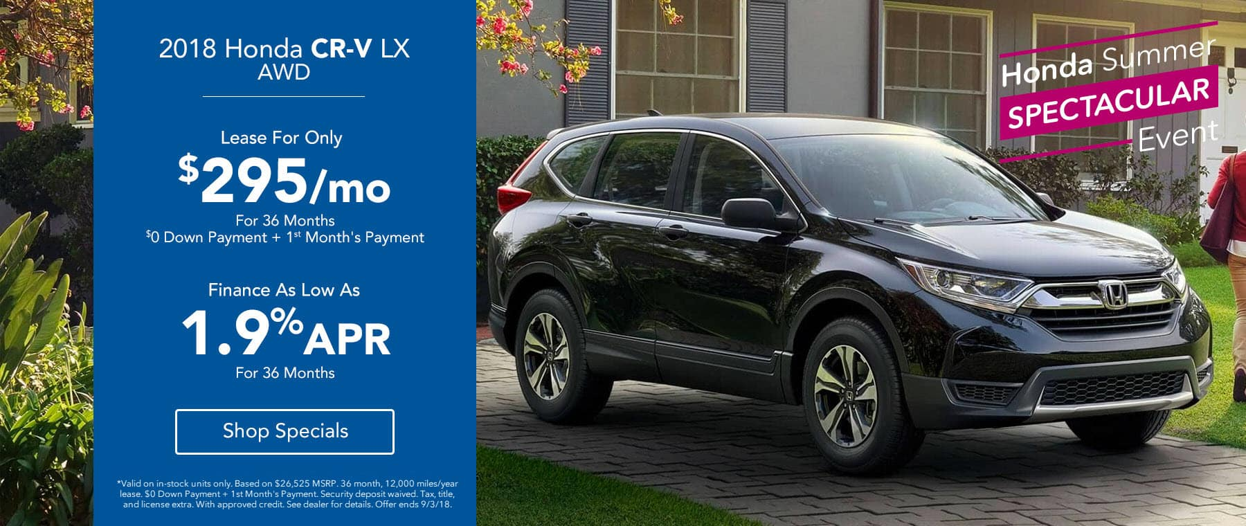 2018 Honda CR-V AWD Lease for $295 for 36 Months