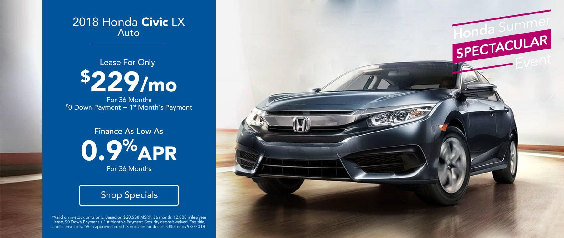 2018 Honda Civic LX Auto Lease for $229/mo