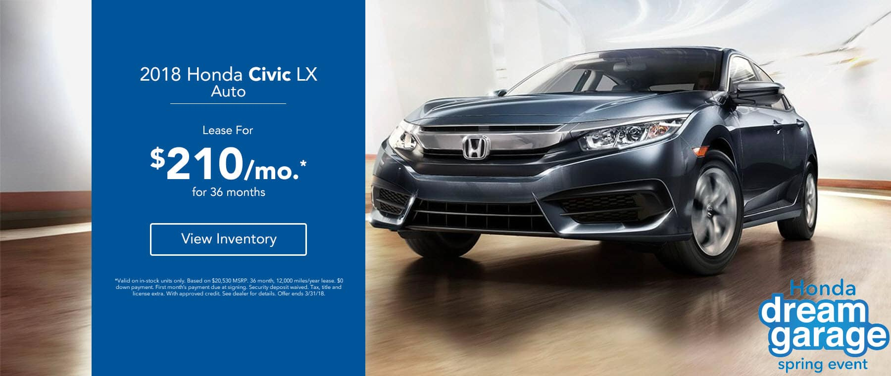Honda Civic - Lease for $210/mo.