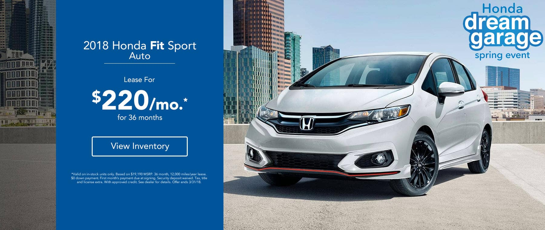 Honda Fit Sport - Lease for $220/mo