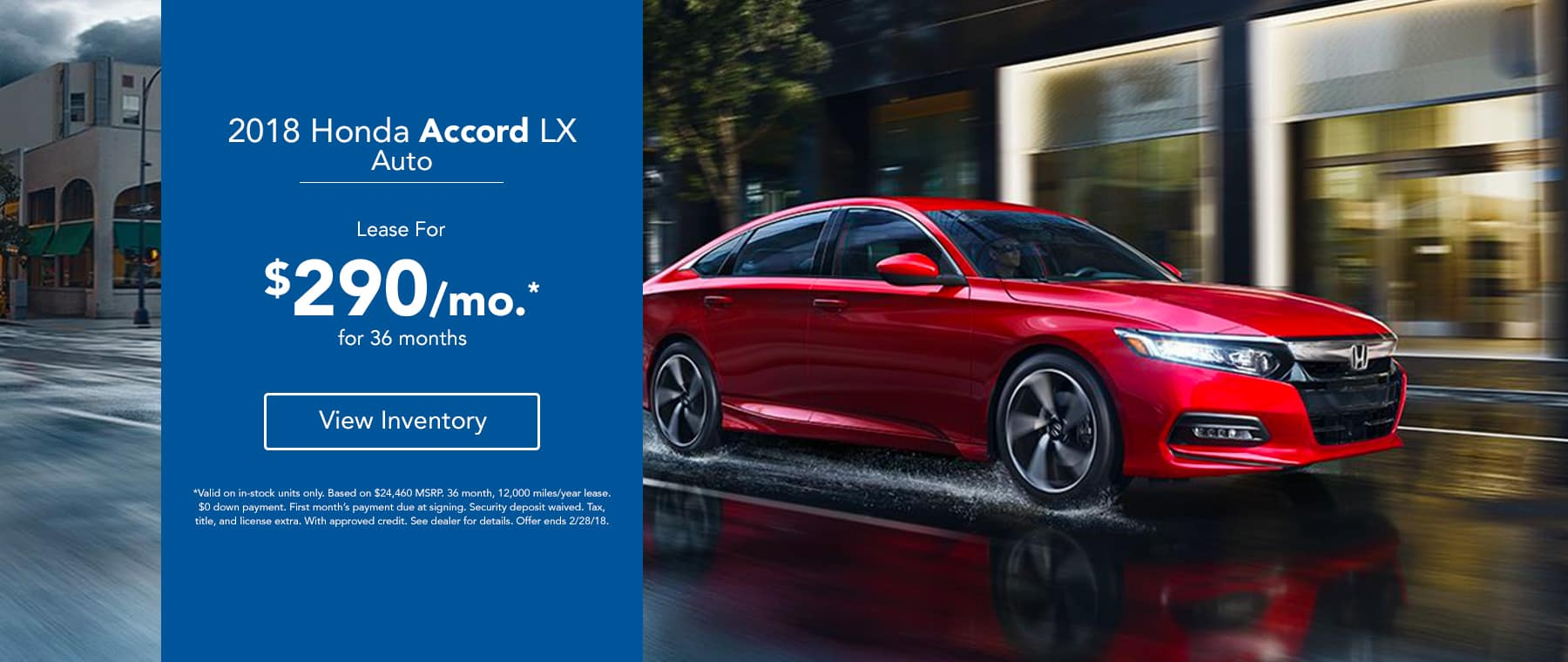 2018 Honda Accord LX - Lease for 299/mo