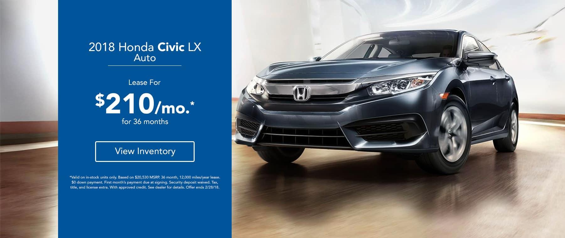 2018 Honda Civic LX - Lease for $199/mo