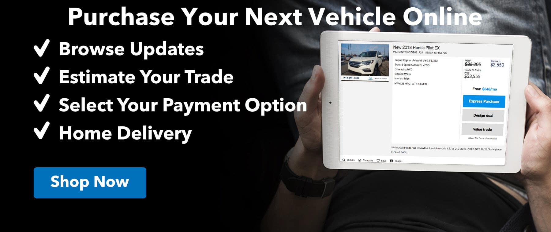 Purchase Your Next Vehicle Online at Legends Honda