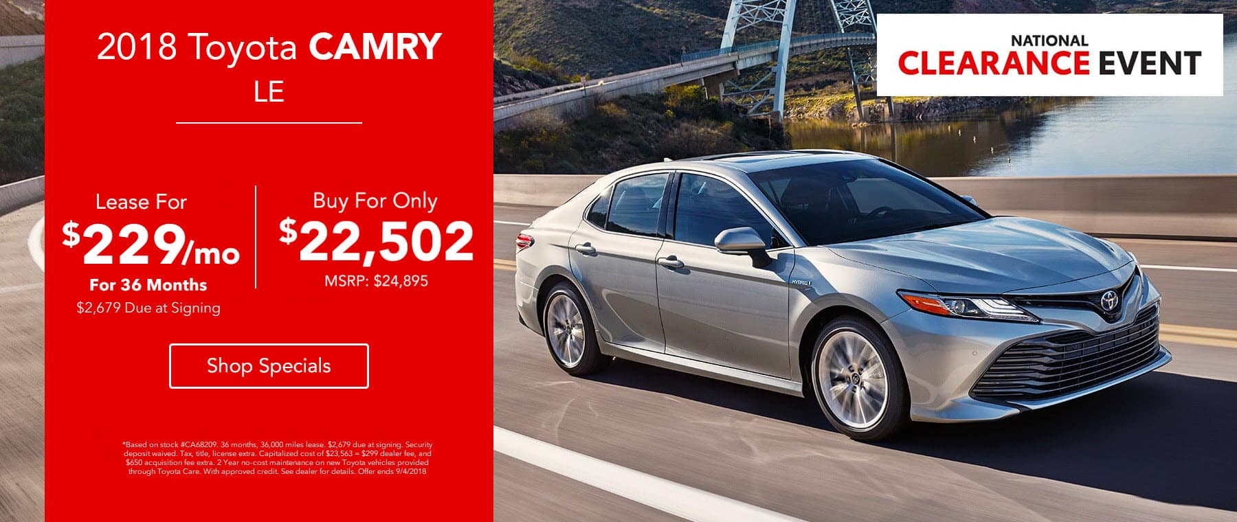 2018 Toyota Camry LE - Lease for $229/mo