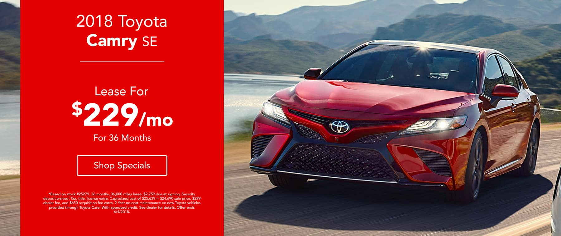 2018 Toyota Camry - Lease for $229/mo