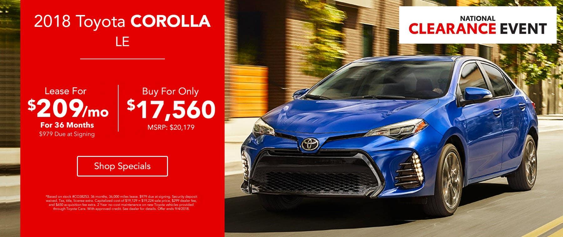 2018 Toyota Corolla LE - Lease for $209/mo