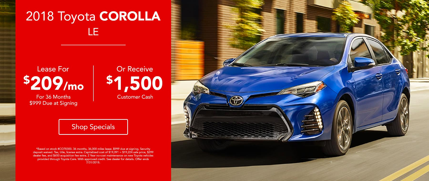 2018 Toyota Corolla LE lease for $209 for 36 months