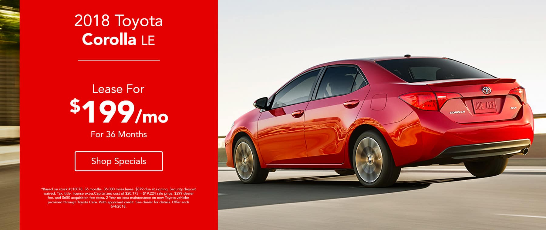2018 Toyota Corolla - Lease for $199/mo