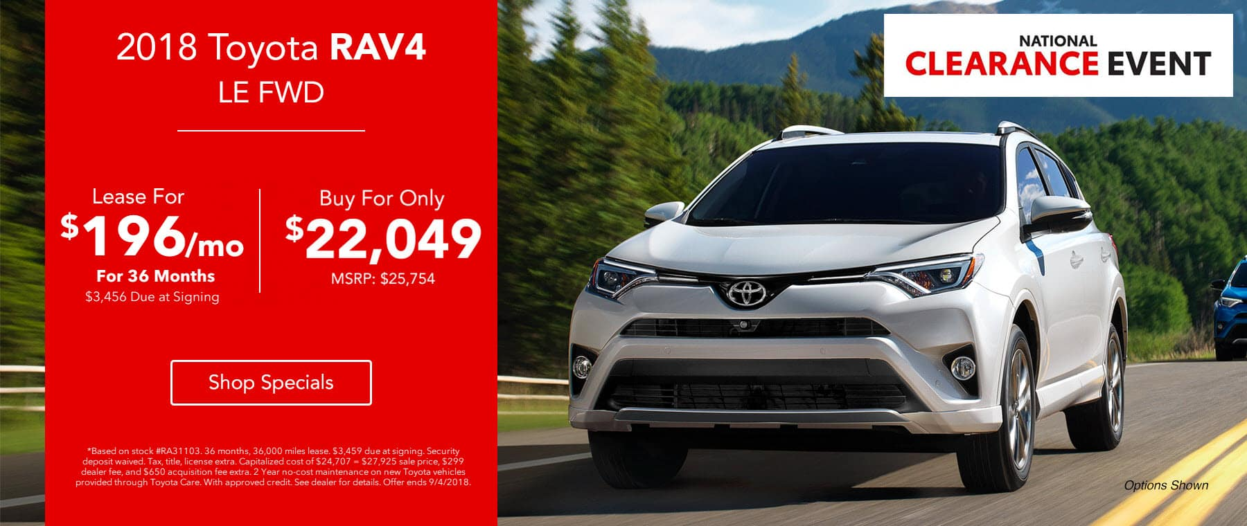 2018 Toyota RAV4 LE FWD - Lease for $196/mo