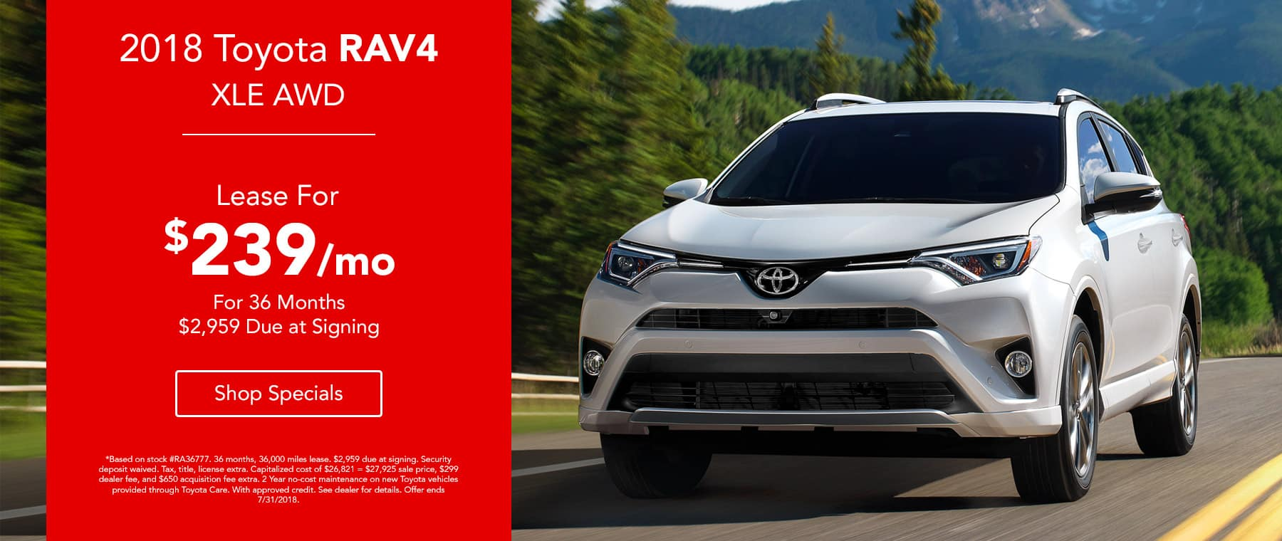 2018 Toyota RAV4 XLE AWD Lease for $239 for 36 months