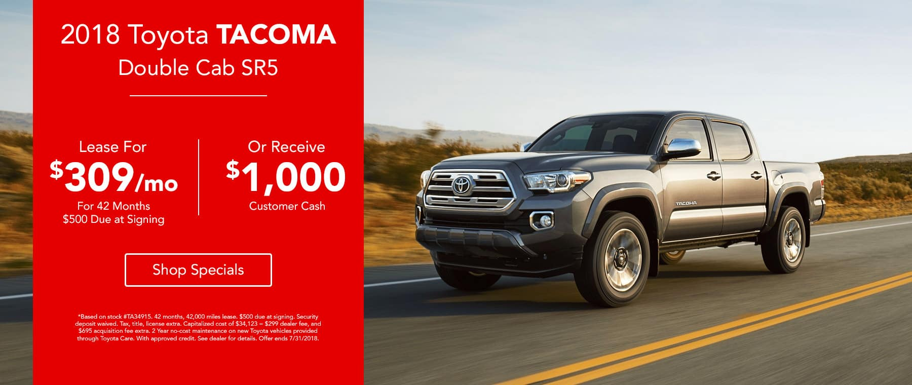 2018 Toyota Tacoma Double Cab Lease for $309 for 36 months