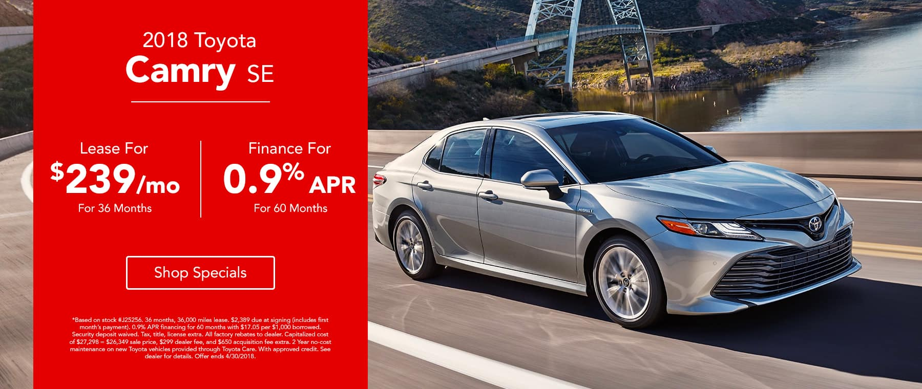 2018 Toyota Camry - Lease for $239/mo