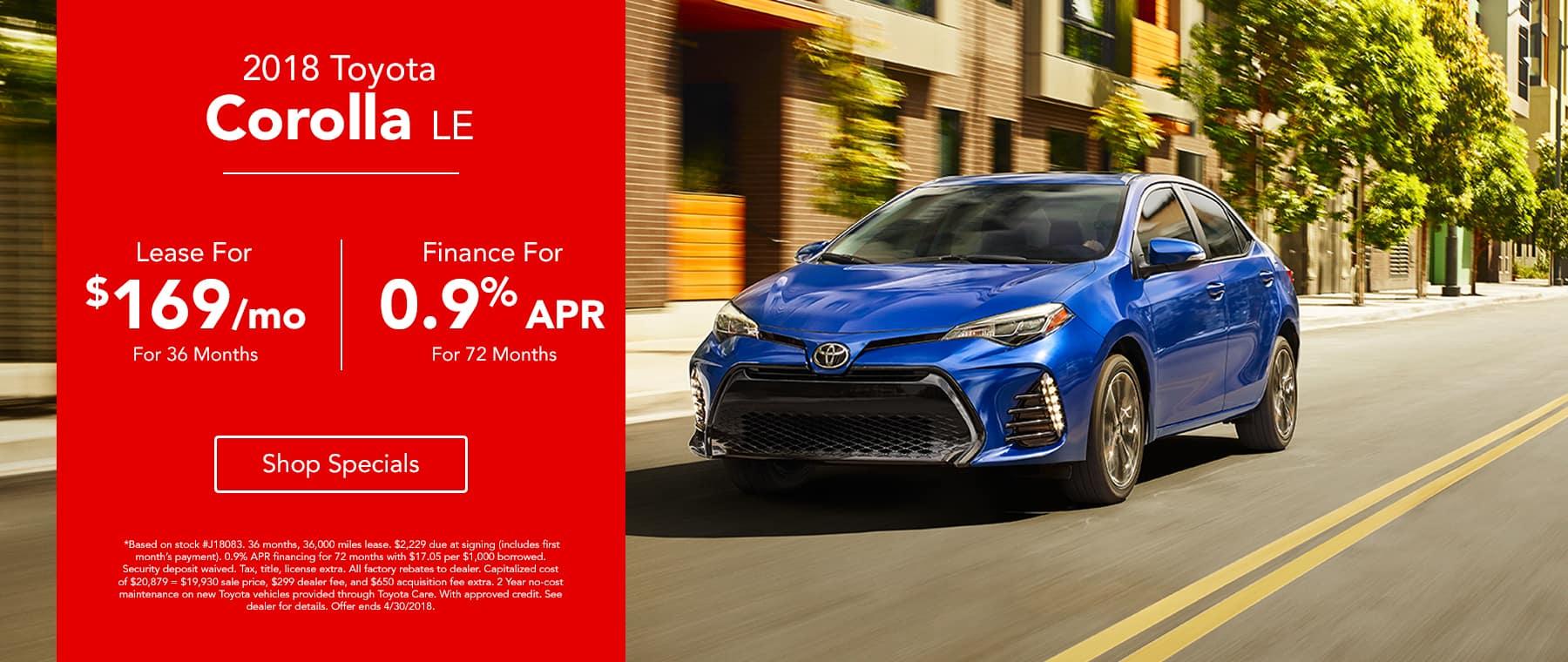 2018 Toyota Corolla - Lease for $169/mo