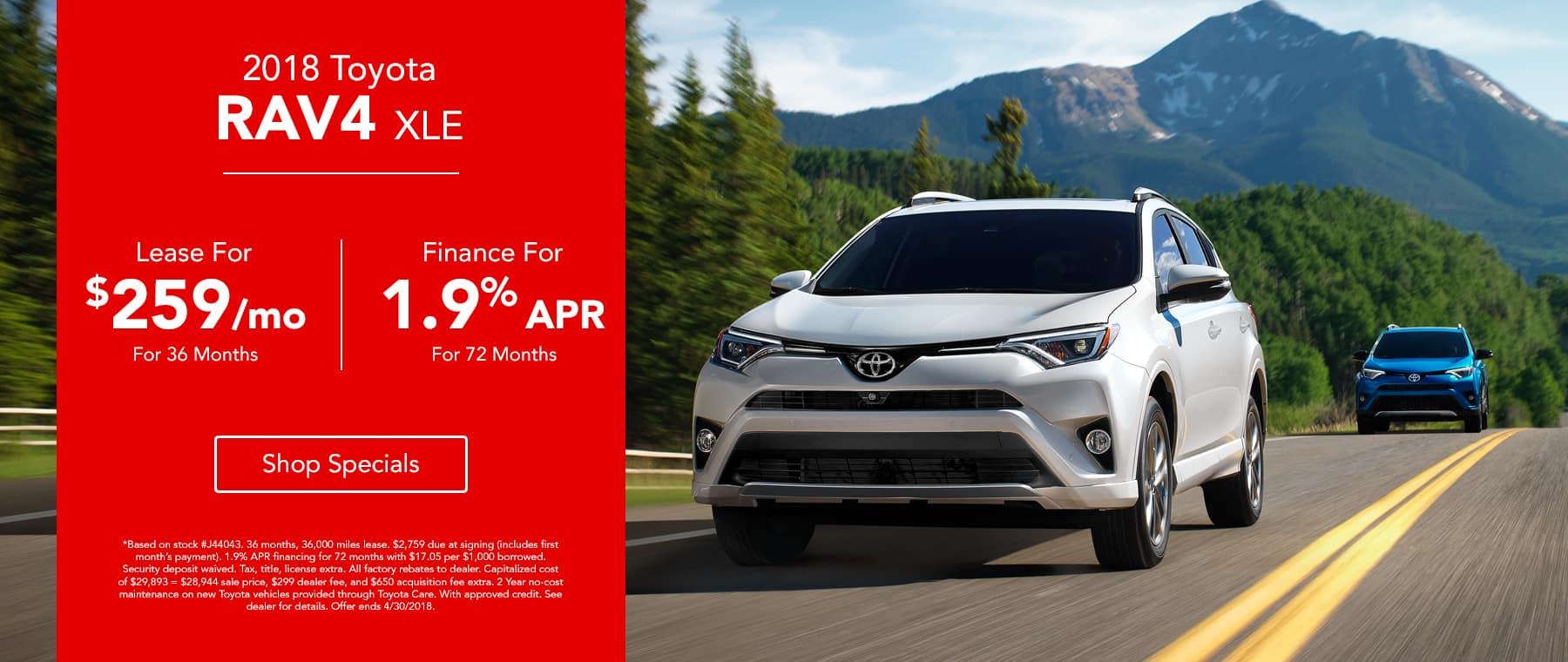 2018 Toyota April RAV4 - Lease for $259/mo