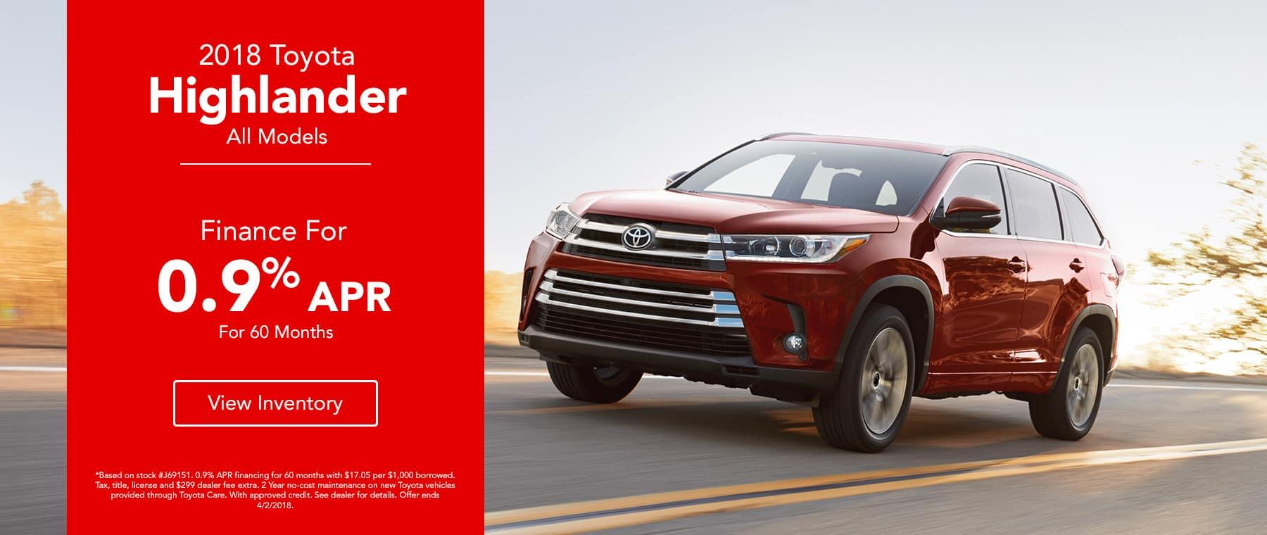 Toyota Highlander - Finance for 0.9% APR for 60 Months