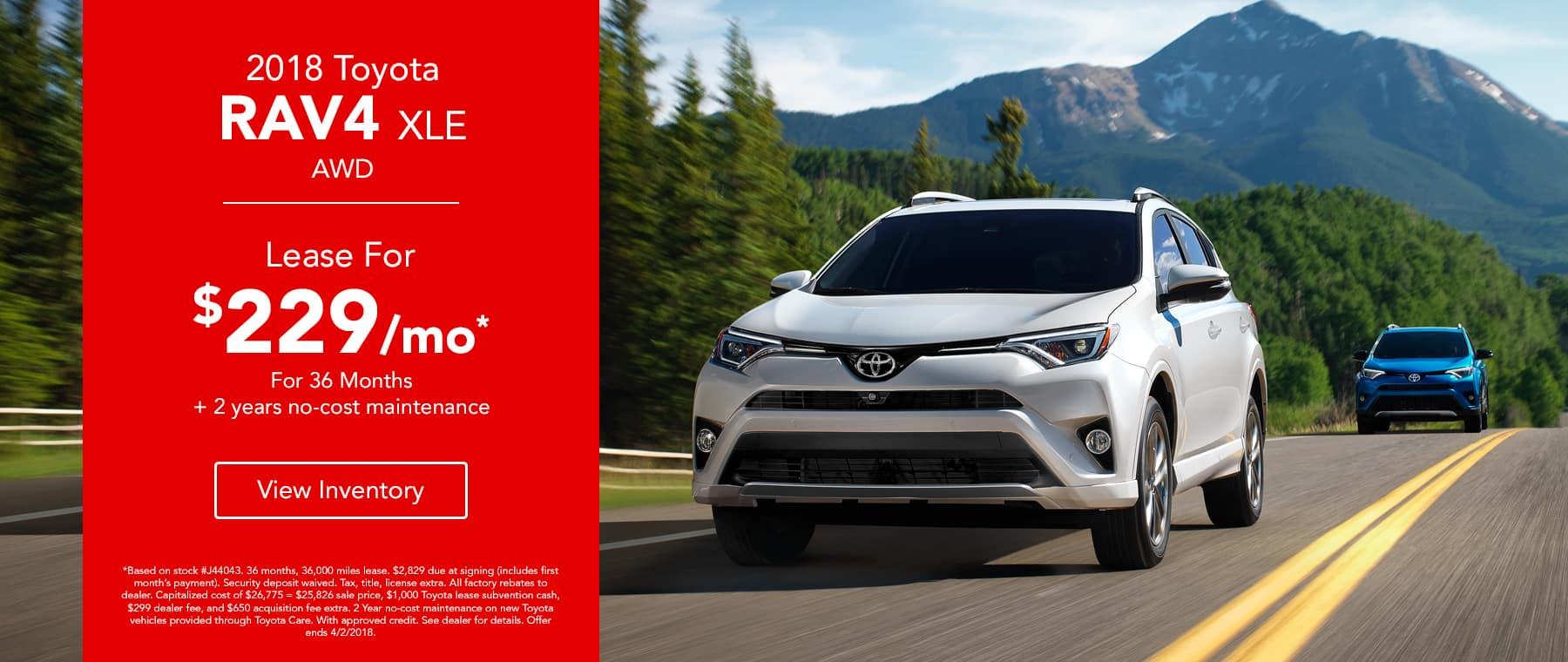 Toyota RAV4 XLE AWD - Lease for $229/mo