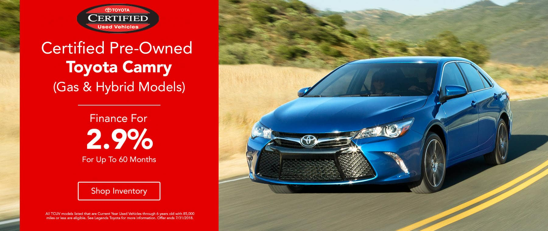 Certified Pre-Owned Camry Finance 2.9% Up To 60 Months
