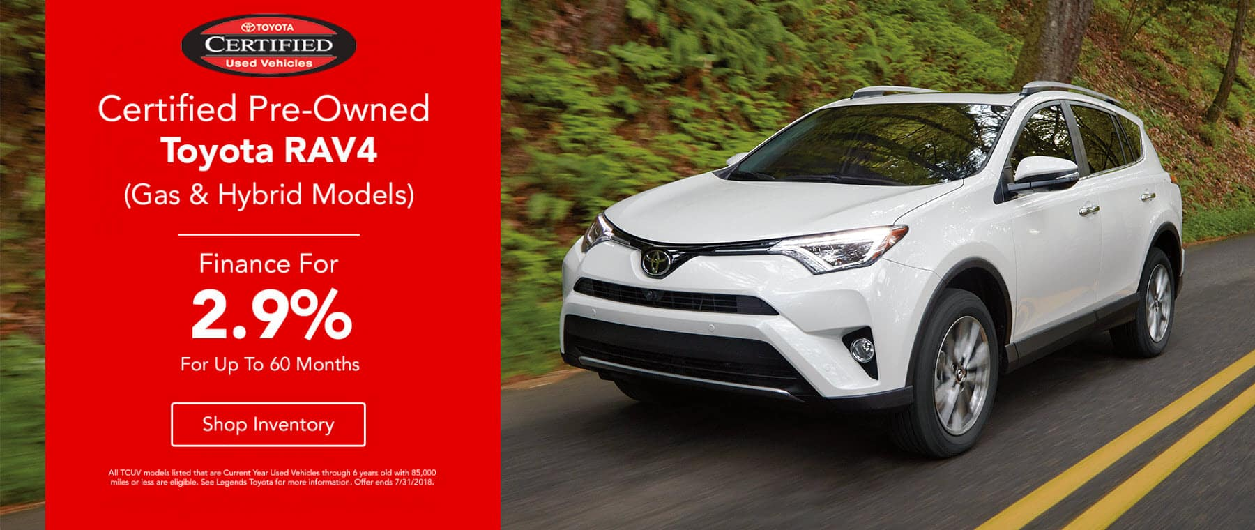 Certified Pre-Owned RAV4 Finance For 2.9% APR For Up To 60 Months