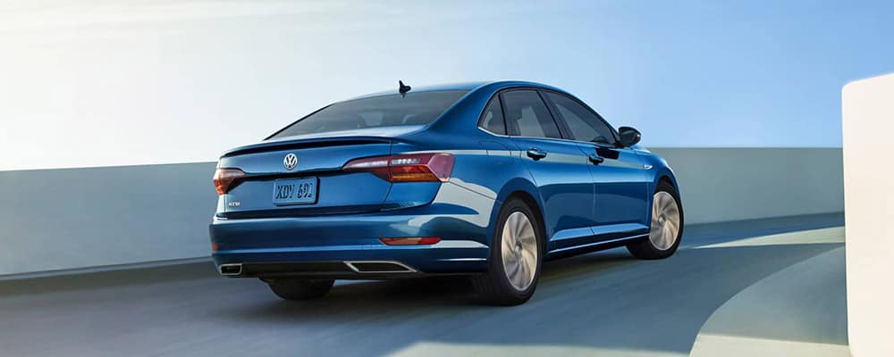 2019 Volkswagen Jetta SEL Premium in silk blue metallic back view