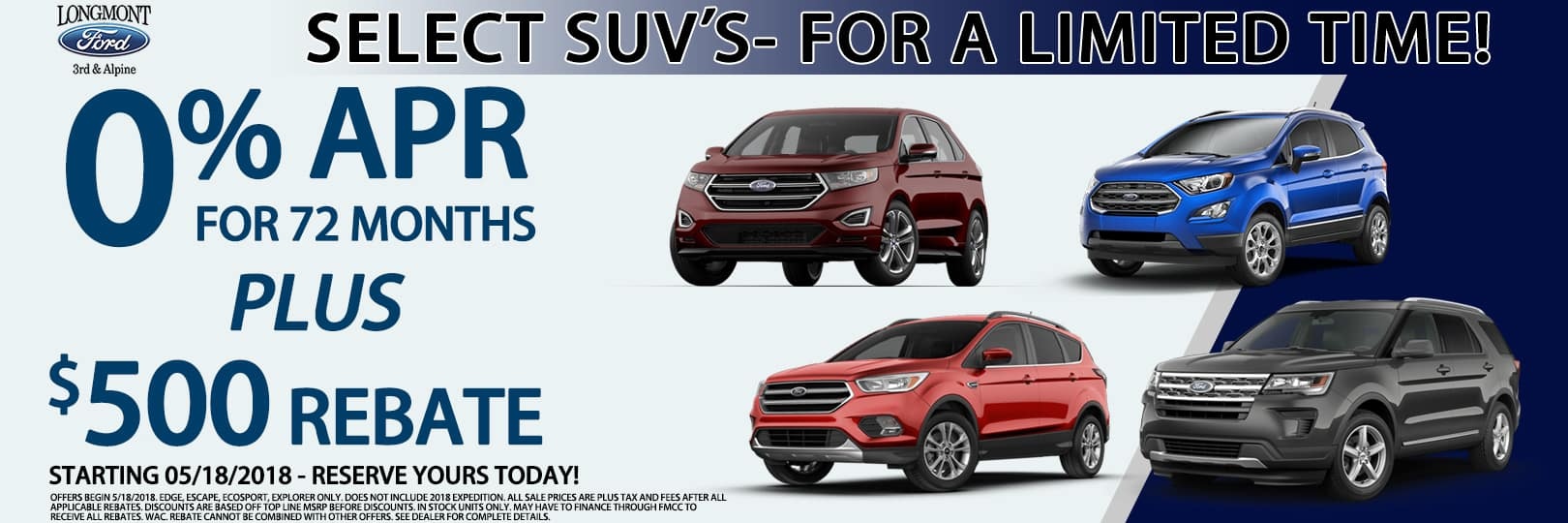 Ford SUV offers 5/18