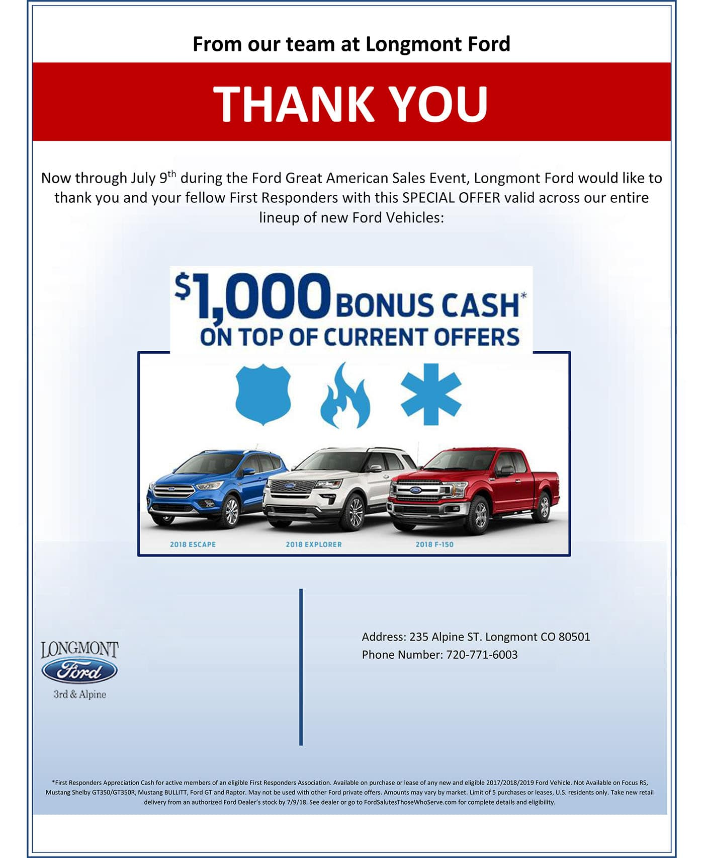 First Responders Offer From Longmont Ford