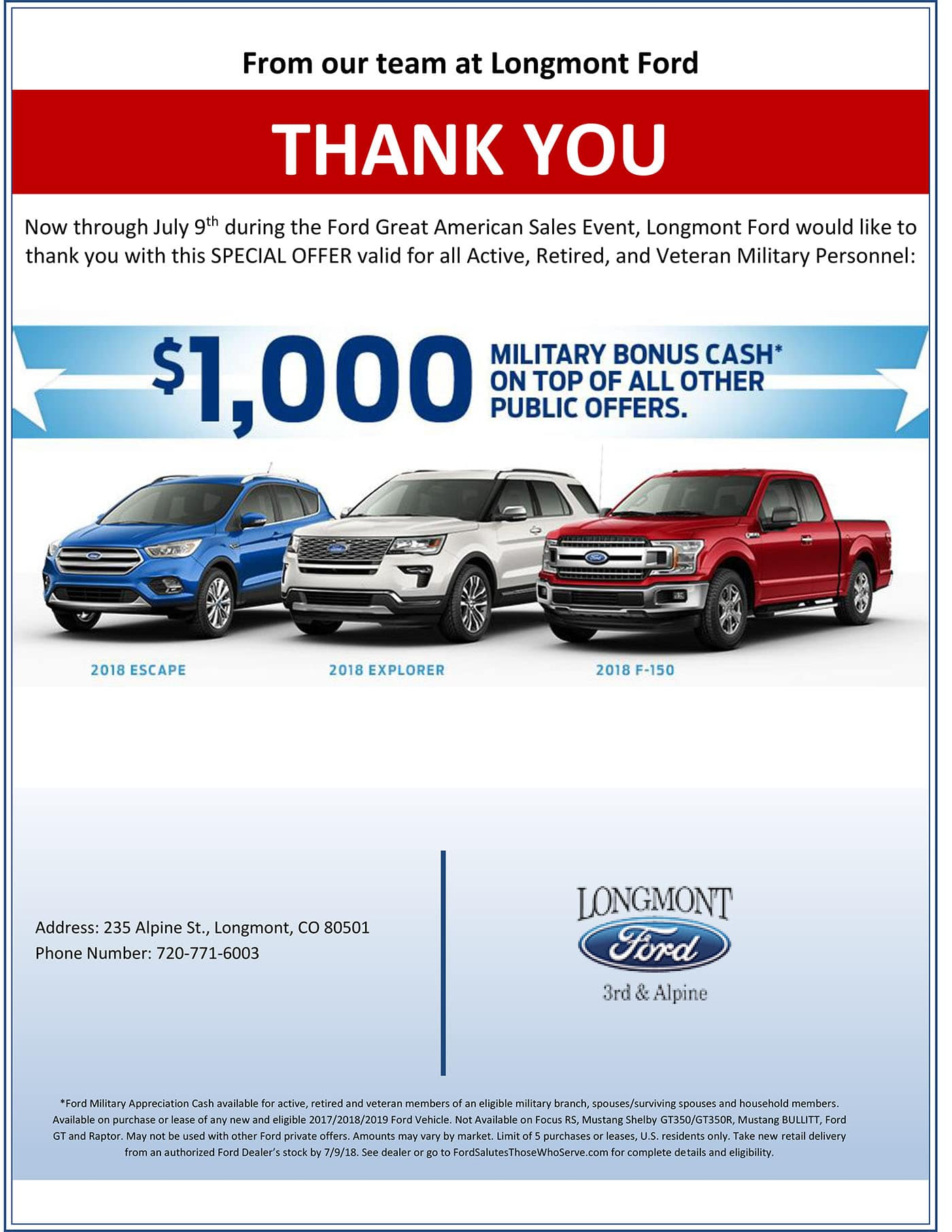 Longmont Ford Military Offer