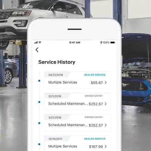 FordPass app conveniently displays vehicle service history