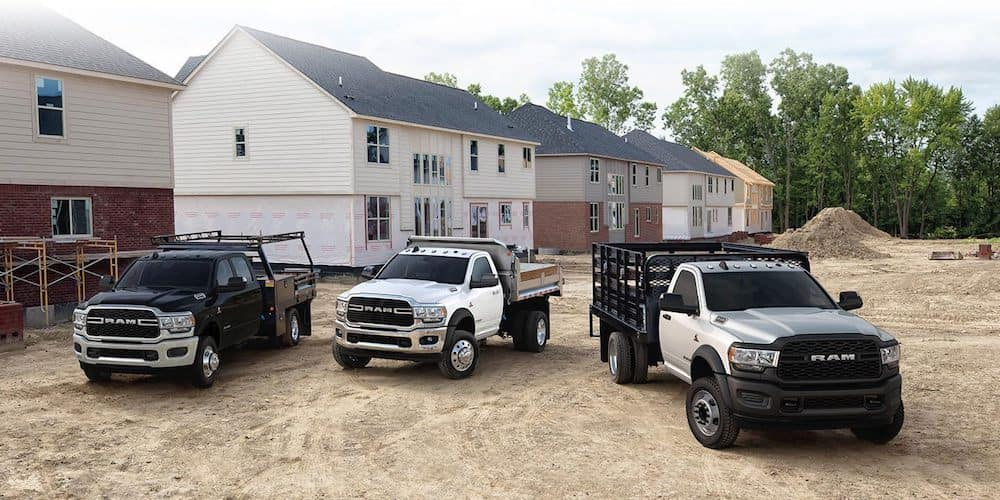 2019 ram chassis cabs at a job site