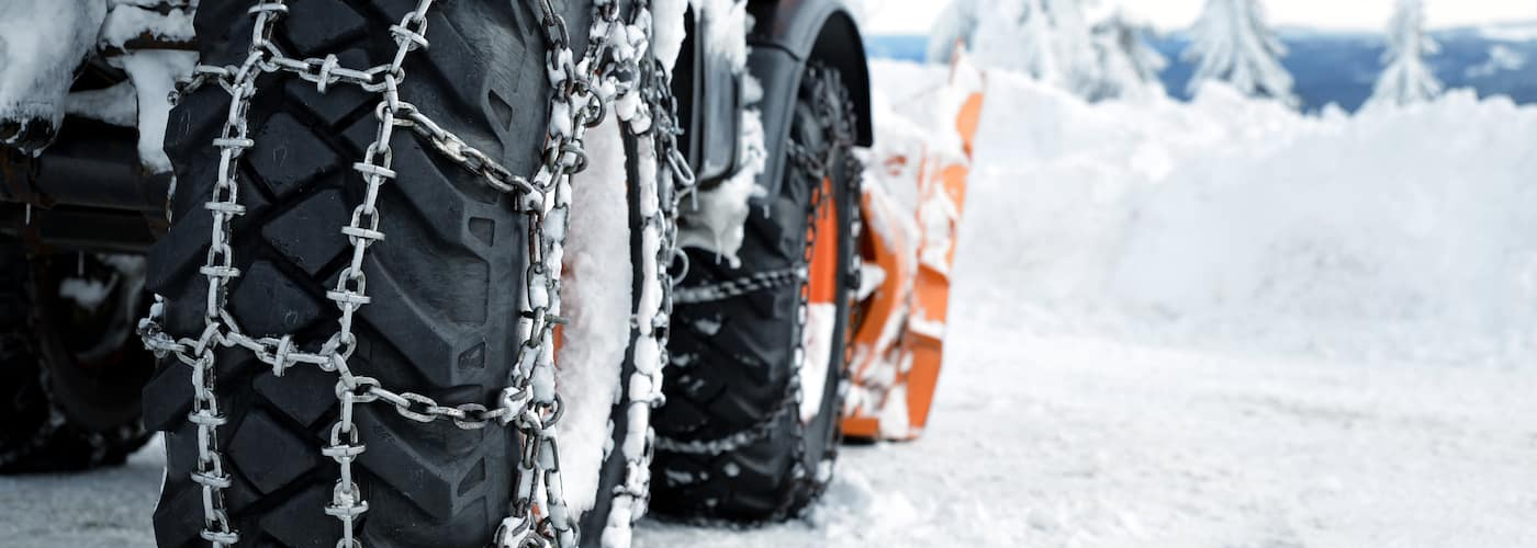 Tire Chains on Snow Plow