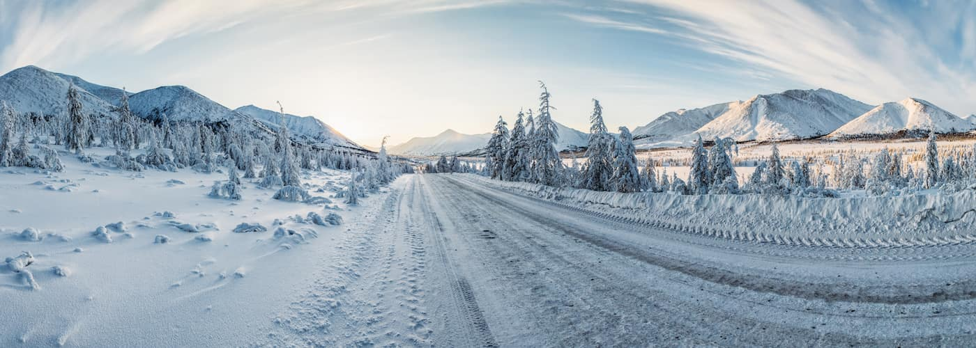 Open Road Covered in Snow