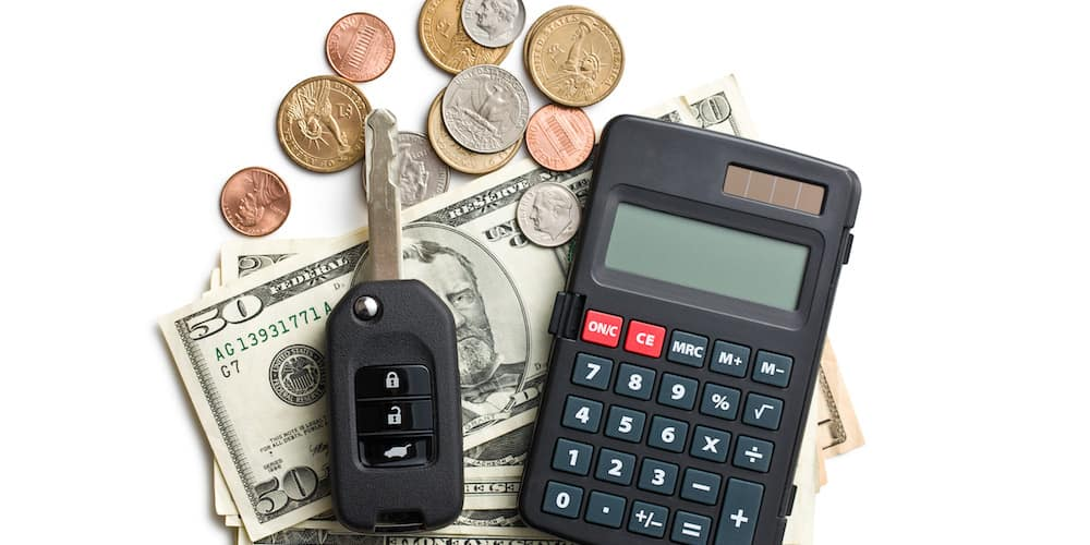 Calculator Money and Car Key