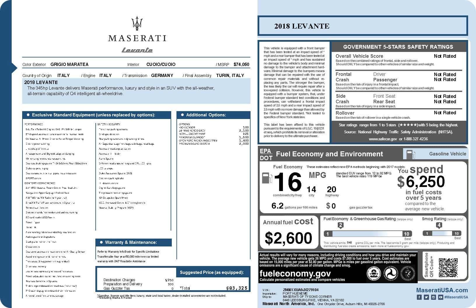 new 2018 maserati levante sport utility in vienna jx279104